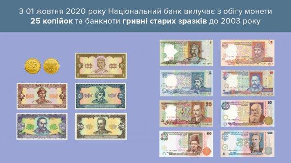 С 1 октября в Украине выходят с оборота монеты номиналом в 25 копеек