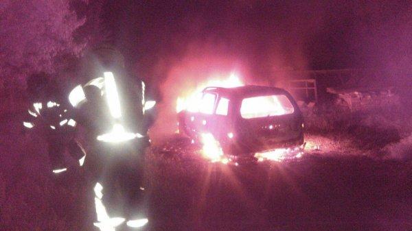 В Запорожской области ночью вспыхнул автомобиль (ФОТО)