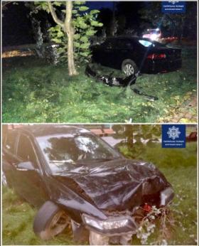 В Запорожье пьяный водитель въехал в дерево (ФОТО)